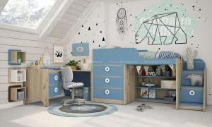 Комната детская Klюkva Mini Капри синий-Дуб серый
