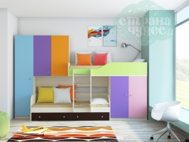 Двухъярусная модульная кровать Лео (разноцветный)