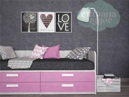 Кровать-диван Klюkva Junior BS09 с 4 ящиками, роза/дуб серый