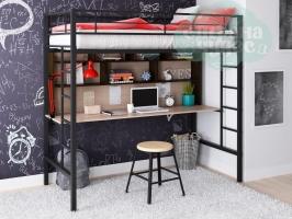 Кровать-чердак металлическая ФМ Севилья-1.2, черная