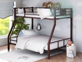 Двухъярусная металлическая кровать ФМ Гранада-1, коричневая