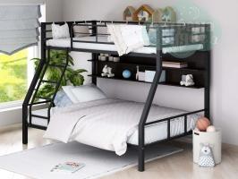 Двухъярусная металлическая кровать ФМ Гранада-1П, черная, с полками