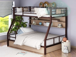 Двухъярусная металлическая кровать ФМ Гранада-1ЯП, коричневая, с ящиками и полками