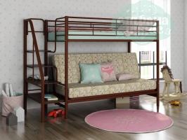 Кровать-чердак с диваном ФМ Мадлен-3, коричневая