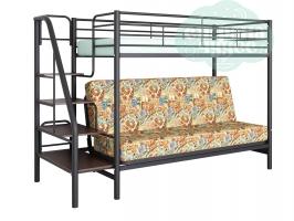Кровать-чердак с диваном ФМ Мадлен-3, марки / черная