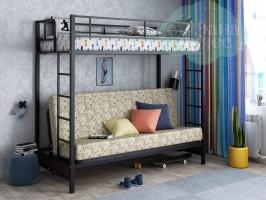 Кровать-чердак с диваном ФМ Мадлен, пифагор / черная