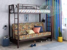 Кровать-чердак с диваном ФМ Мадлен, марки / коричневая