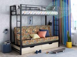 Кровать-чердак с диваном ФМ Мадлен, марки / черная