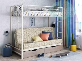 Кровать-чердак с диваном ФМ Мадлен, марки / слоновая кость