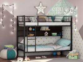 Двухъярусная металлическая кровать ФМ Севилья-2П, черная, с полками