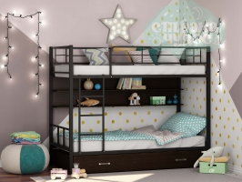 Двухъярусная металлическая кровать ФМ Севилья-2ЯП, черная, с ящиками и полками