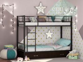 Двухъярусная металлическая кровать ФМ Севилья-2Я, черная, с ящиками