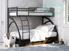 Двухъярусная кровать ФМ Виньола-2 с ящиком, черная
