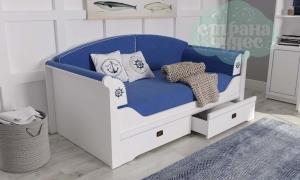 Кровать-диван Klukva Calypso к круглыми подлокотниками