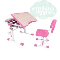 Комплект парта и стул-трансформеры FunDesk Sorriso розовый