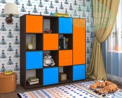 Стеллаж Ярофф Джери-2, бодего-синий-оранжевый