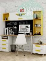 Стол письменный Klюkva Junior, Automobile, белый/солнечный свет
