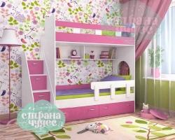 Кровать двухъярусная Ярофф Юниор 1, белое дерево+розовый