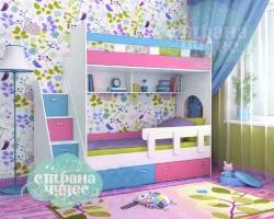 Кровать двухъярусная Ярофф Юниор 1, белое дерево+голубой+розовый