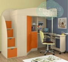 Кровать-чердак ФМ Теремок-1 Гранд, дуб-оранжевый