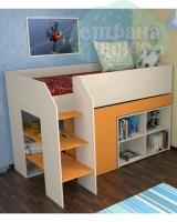 Кровать-чердак ФМ Теремок-2, дуб беленый-оранжевый