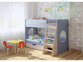 Двухъярусная кровать Легенда 25.2, голубая
