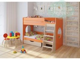 Двухъярусная кровать Легенда 25.2, оранжевая