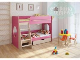 Двухъярусная кровать Легенда 25.2, розовая