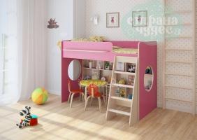 Кровать-чердак Легенда 26.1, розовая