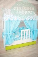 Текстиль для кровати-домика, голубой