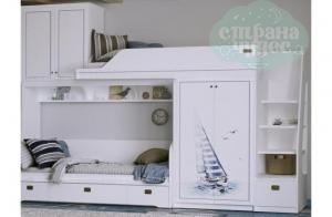Кровать-чердак Klukva Calypso с принтом