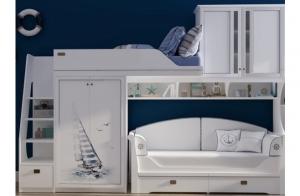 Кровать-чердак Klukva Calypso со стеклянными вставками и принтом